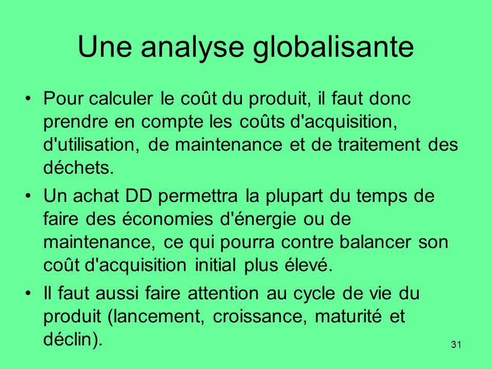 31 Une analyse globalisante •Pour calculer le coût du produit, il faut donc prendre en compte les coûts d acquisition, d utilisation, de maintenance et de traitement des déchets.