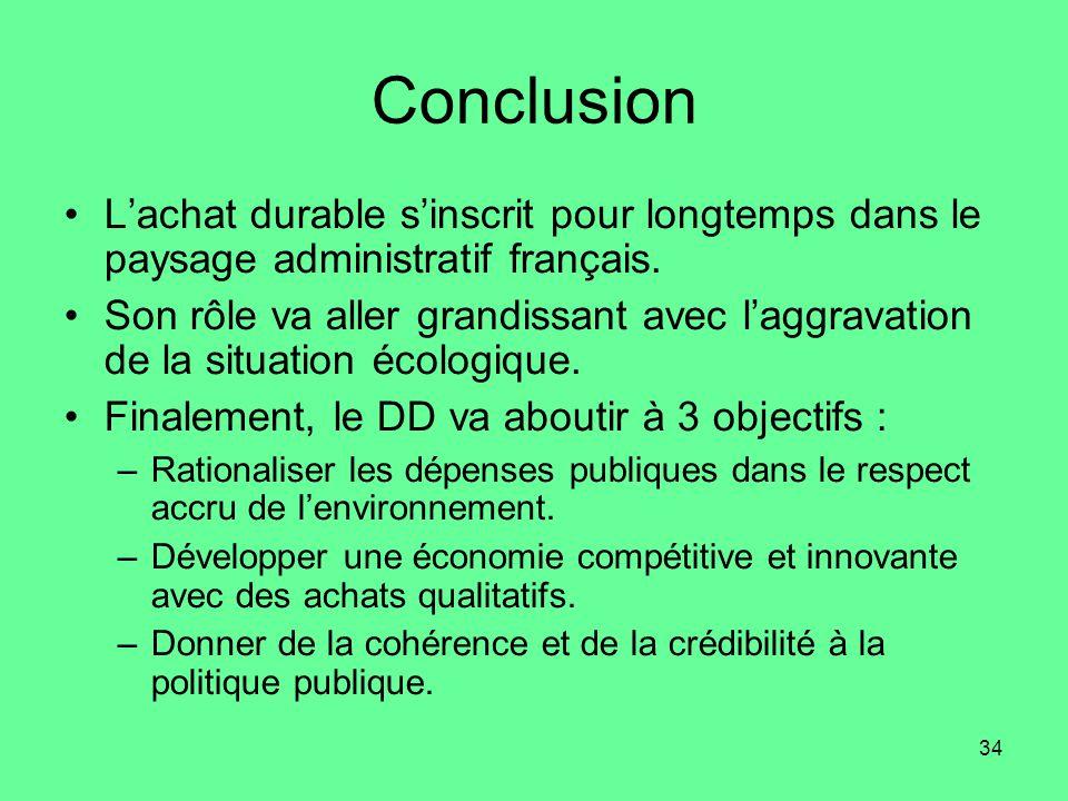 34 Conclusion •L'achat durable s'inscrit pour longtemps dans le paysage administratif français.
