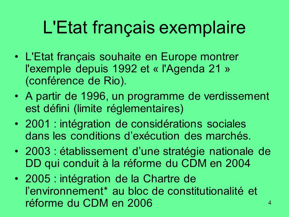 4 L Etat français exemplaire •L Etat français souhaite en Europe montrer l exemple depuis 1992 et « l Agenda 21 » (conférence de Rio).