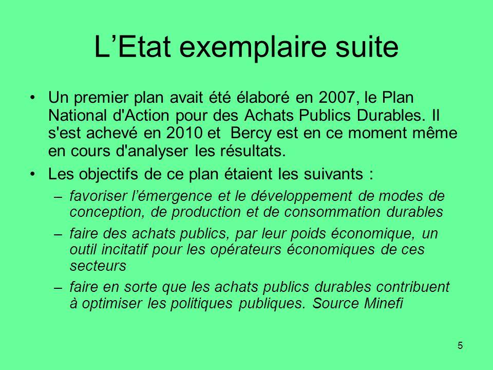 5 L'Etat exemplaire suite •Un premier plan avait été élaboré en 2007, le Plan National d Action pour des Achats Publics Durables.