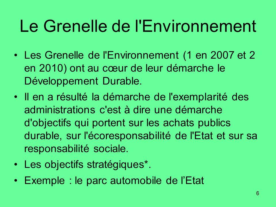6 Le Grenelle de l Environnement •Les Grenelle de l Environnement (1 en 2007 et 2 en 2010) ont au cœur de leur démarche le Développement Durable.