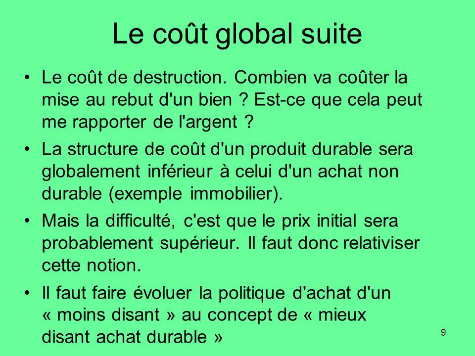 9 Le coût global suite •Le coût de destruction.Combien va coûter la mise au rebut d un bien .