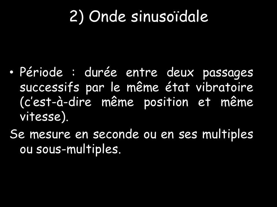 2) Onde sinusoïdale • Période : durée entre deux passages successifs par le même état vibratoire (c'est-à-dire même position et même vitesse). Se mesu