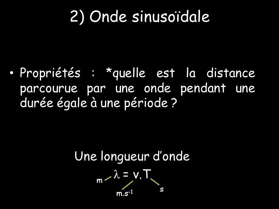 2) Onde sinusoïdale • Propriétés : *quelle est la distance parcourue par une onde pendant une durée égale à une période ? Une longueur d'onde λ = v.T