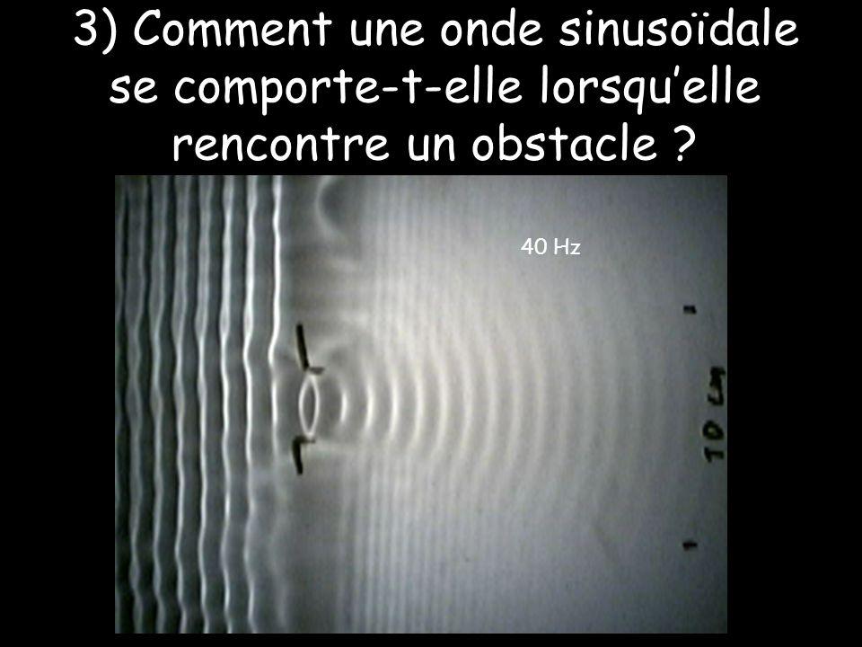 3) Comment une onde sinusoïdale se comporte-t-elle lorsqu'elle rencontre un obstacle ? 40 Hz