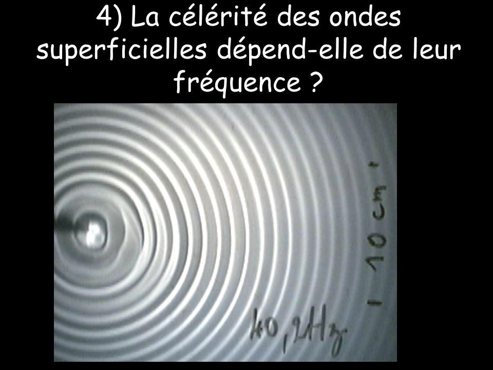 4) La célérité des ondes superficielles dépend-elle de leur fréquence ?