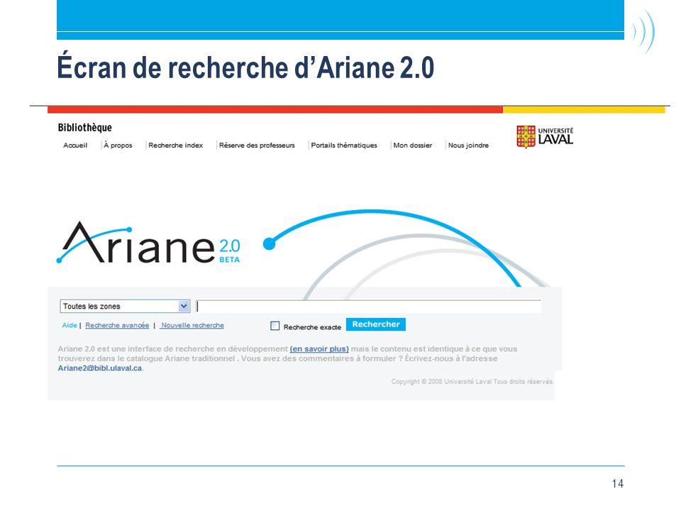 14 Écran de recherche d'Ariane 2.0