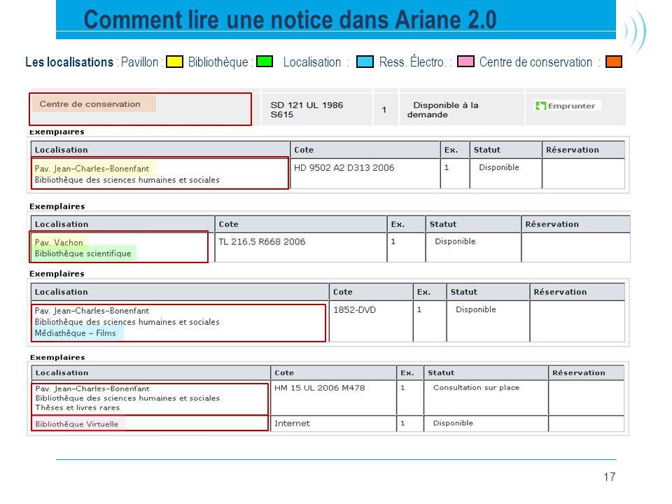 17 Comment lire une notice dans Ariane 2.0 Les localisations : Pavillon : Bibliothèque : Localisation : Ress.