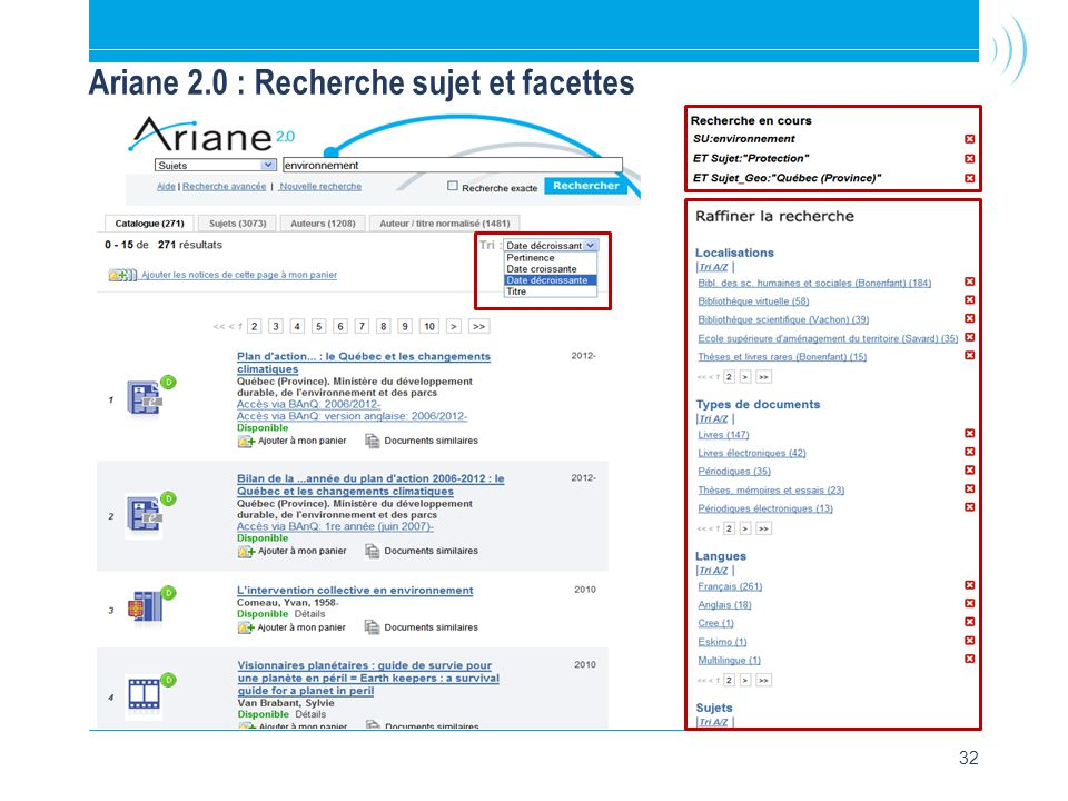 32 Ariane 2.0 : Recherche sujet et facettes