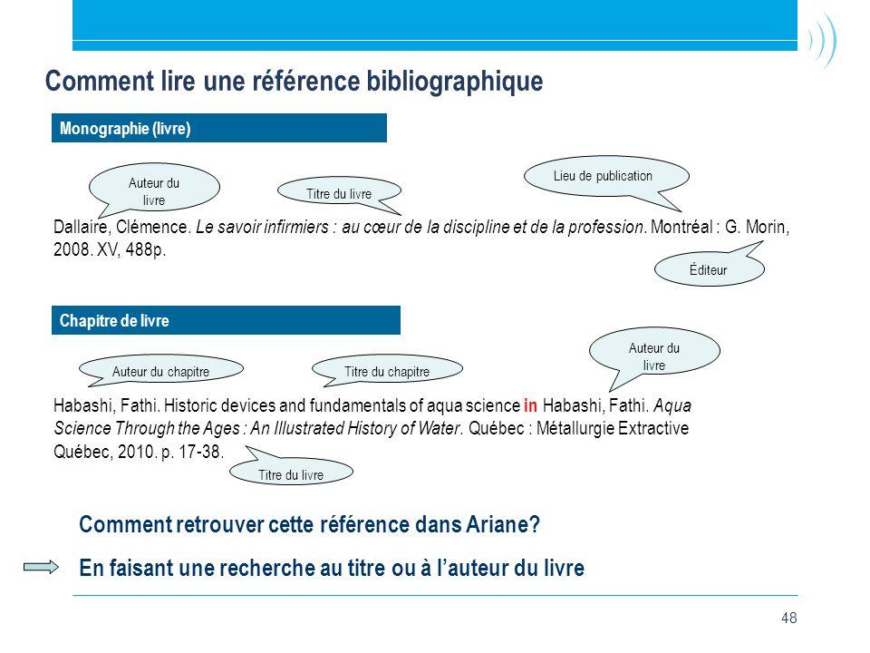 48 Comment lire une référence bibliographique Dallaire, Clémence.