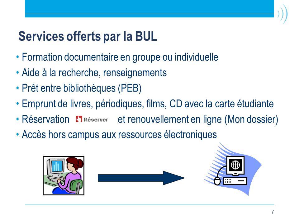 7 Services offerts par la BUL •Formation documentaire en groupe ou individuelle •Aide à la recherche, renseignements •Prêt entre bibliothèques (PEB) •Emprunt de livres, périodiques, films, CD avec la carte étudiante •Réservation et renouvellement en ligne (Mon dossier) •Accès hors campus aux ressources électroniques
