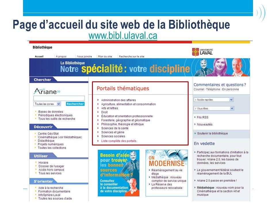 8 Page d'accueil du site web de la Bibliothèque www.bibl.ulaval.ca