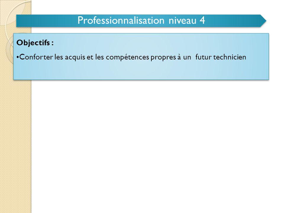 Professionnalisation niveau 4 Champ des activités d'apprentissage : • Conduite d'un projet de fabrication à caractère industriel (Un projet au minimum, de l'étude jusqu'à la réalisation.