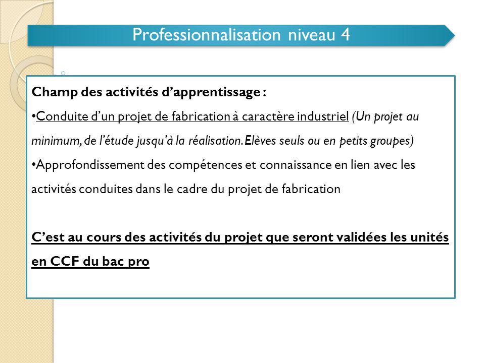 Professionnalisation niveau 4 Objectifs de la PFMP associée: • Participer à des projets de réalisation • Développer l'autonomie dans la conduite d'activités professionnelles de niveau 4 L'évaluation en CCF des activités conduites en entreprise porte sur cette période.