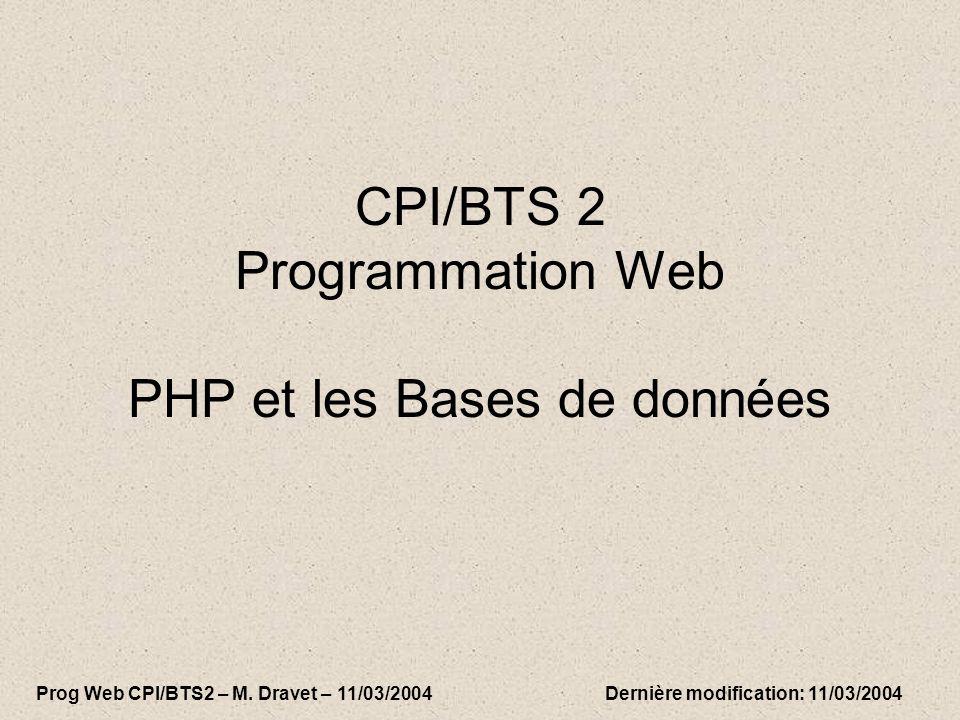 CPI/BTS 2 Programmation Web PHP et les Bases de données Prog Web CPI/BTS2 – M.