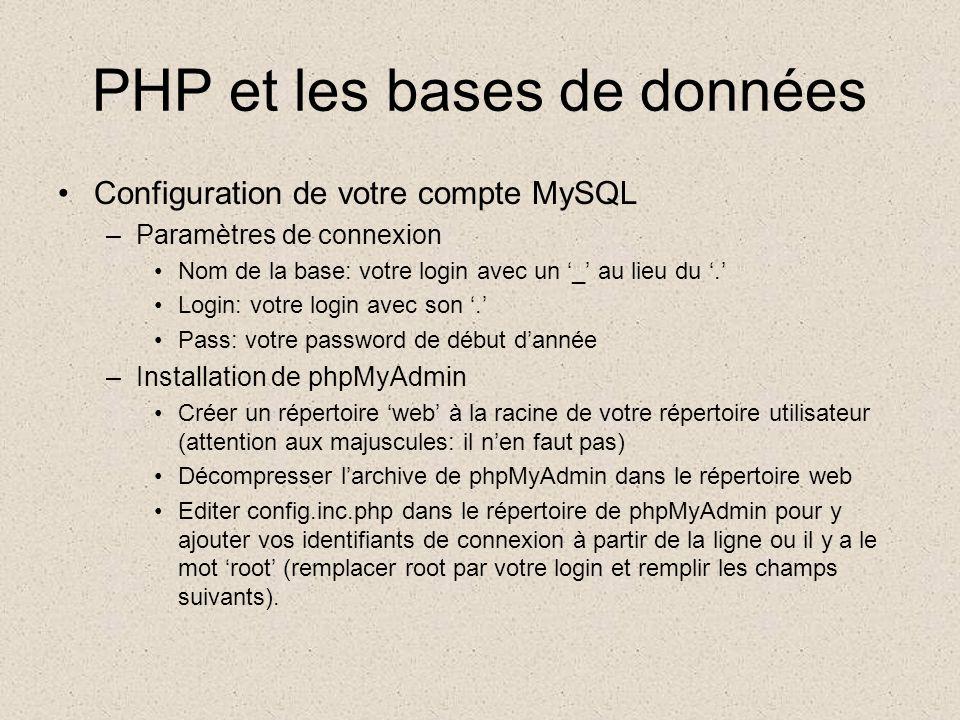 PHP et les bases de données •Configuration de votre compte MySQL –Accèder à phpMyAdmin •URL publique •http://www.mtp.epsi.fr/~votre.login/web/phpMyAdmin-x-x-xhttp://www.mtp.epsi.fr/~votre.login/web/phpMyAdmin-x-x-x –Accèder à vos pages web •URL publique •http://www.mtp.epsi.fr/~votre.login/web