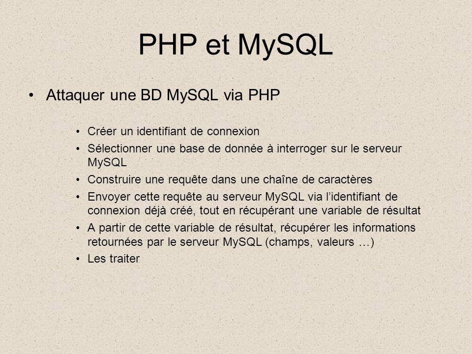 PHP et MySQL •Exercice n°3 –Toujours avec vos tables MySQL, –Créez un formulaire HTML permettant à l'utilisateur de spécifier les valeurs des champs importants d'une de vos tables (ex: la marque, le modèle, la cylindrée, puissance fiscale, date de 1ère immatriculation) –Le script PHP pointé par le formulaire construit une requête INSERT afin de créer un nouvel enregistrement avec les valeurs entrées dans le formulaire –Ce même script PHP indique ensuite dans la page HTML générée si la requête a été exécutée avec succès ou non.