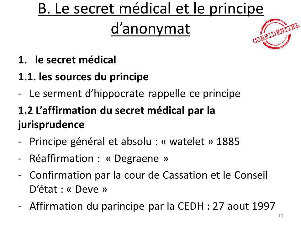 B. Le secret médical et le principe d'anonymat 1.le secret médical 1.1. les sources du principe -Le serment d'hippocrate rappelle ce principe 1.2 L'af