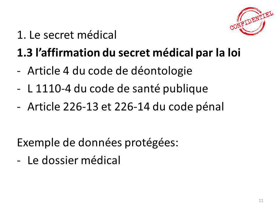 1. Le secret médical 1.3 l'affirmation du secret médical par la loi -Article 4 du code de déontologie -L 1110-4 du code de santé publique -Article 226