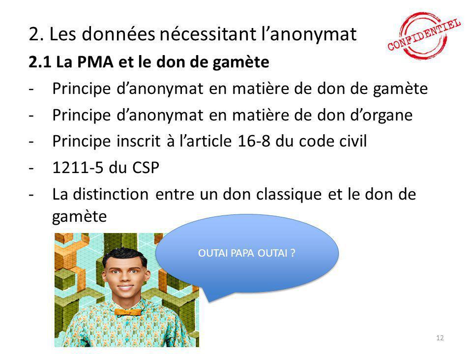 2. Les données nécessitant l'anonymat 2.1 La PMA et le don de gamète -Principe d'anonymat en matière de don de gamète -Principe d'anonymat en matière