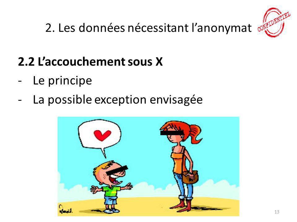 2. Les données nécessitant l'anonymat 2.2 L'accouchement sous X -Le principe -La possible exception envisagée 13