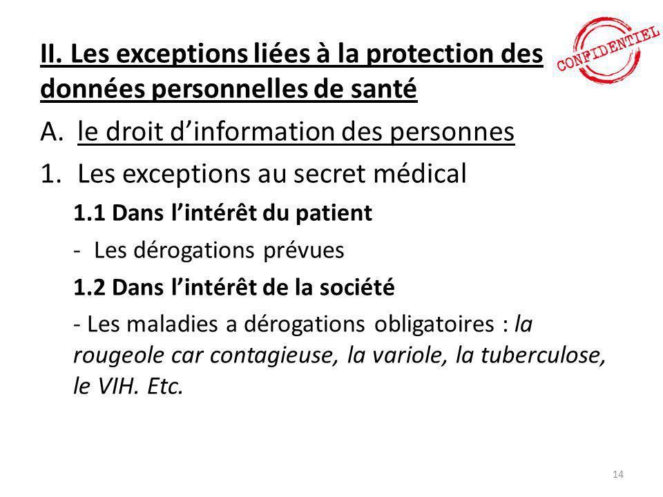 II. Les exceptions liées à la protection des données personnelles de santé A.le droit d'information des personnes 1.Les exceptions au secret médical 1