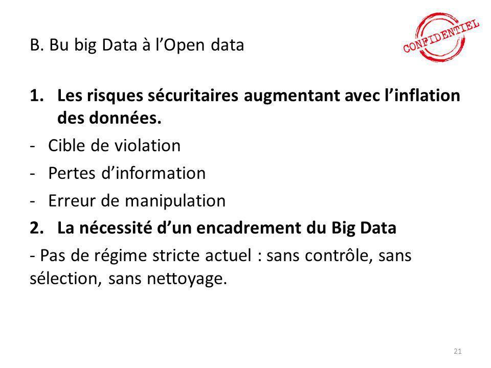 B. Bu big Data à l'Open data 1.Les risques sécuritaires augmentant avec l'inflation des données. -Cible de violation -Pertes d'information -Erreur de