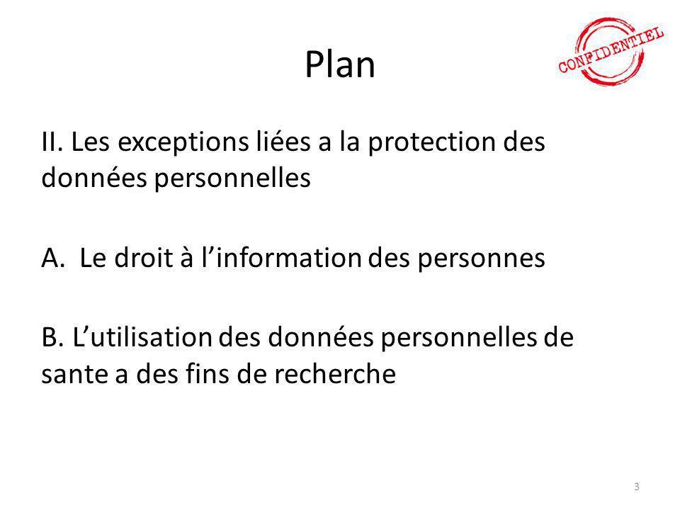 Plan II. Les exceptions liées a la protection des données personnelles A.Le droit à l'information des personnes B. L'utilisation des données personnel