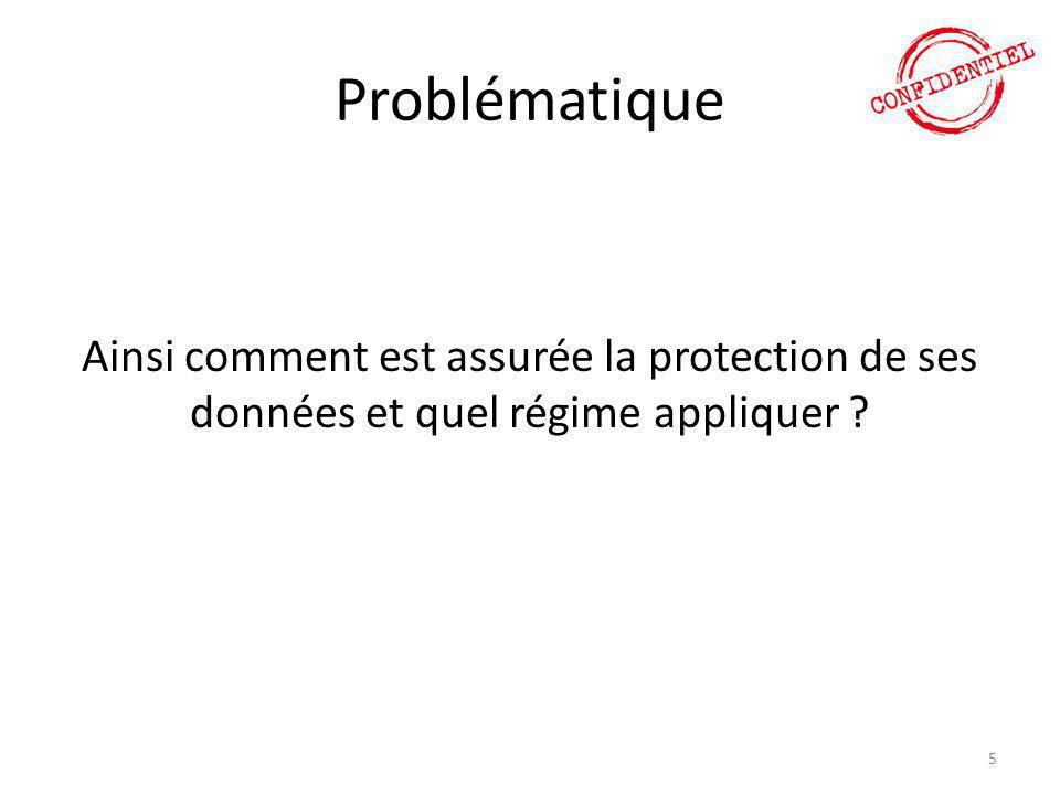 Problématique Ainsi comment est assurée la protection de ses données et quel régime appliquer ? 5
