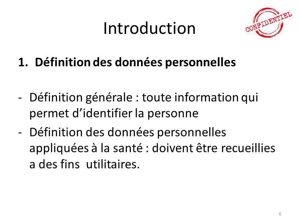 Introduction 1.Définition des données personnelles -Définition générale : toute information qui permet d'identifier la personne -Définition des données personnelles appliquées à la santé : doivent être recueillies a des fins utilitaires.