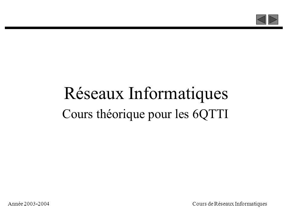 Année 2003-2004Cours de Réseaux Informatiques Réseaux Informatiques Cours théorique pour les 6QTTI