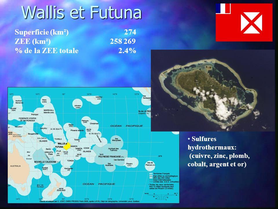 Wallis et Futuna Wallis et Futuna Superficie (km²) 274 ZEE (km²) 258 269 % de la ZEE totale 2.4% • Sulfures hydrothermaux: (cuivre, zinc, plomb, cobalt, argent et or)