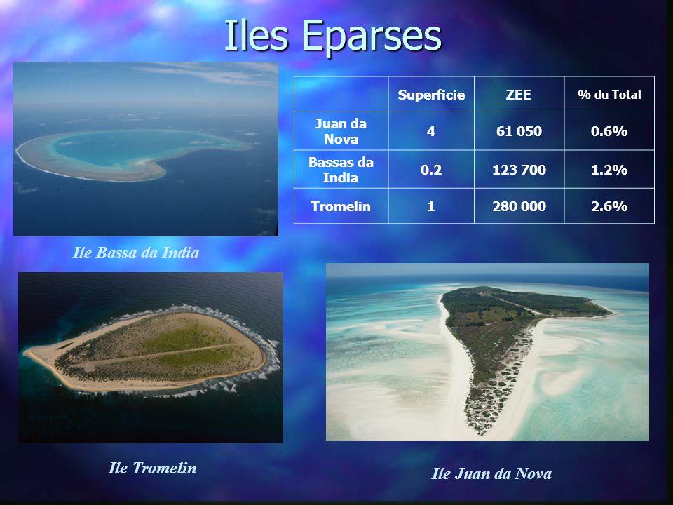 Iles Eparses SuperficieZEE % du Total Juan da Nova 461 0500.6% Bassas da India 0.2123 7001.2% Tromelin1280 0002.6% Ile Bassa da India Ile Tromelin Ile Juan da Nova