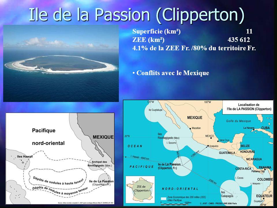 Ile de la Passion (Clipperton) Superficie (km²) 11 ZEE (km²) 435 612 4.1% de la ZEE Fr.