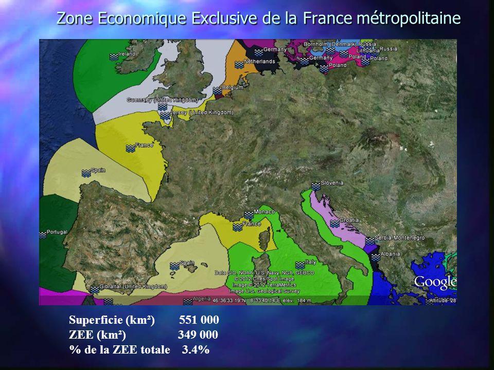 Zone Economique Exclusive de la France métropolitaine Zone Economique Exclusive de la France métropolitaine Superficie (km²) 551 000 ZEE (km²) 349 000 % de la ZEE totale 3.4%
