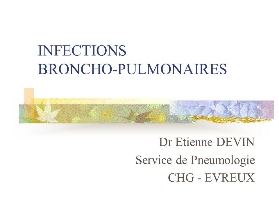 PNEUMOPATHIES COMMUNAUTAIRES Sans signes de gravité: antibiothérapie à domicile Pneumonie franchePneumonie atypique Amino-pénicilline Macrolide, cycline, quinolone Evaluation à J3 SuccèsEchecAggravation HOSPITALISATION Changement d 'antibiotique Evaluation à J5 Echec GUERISON