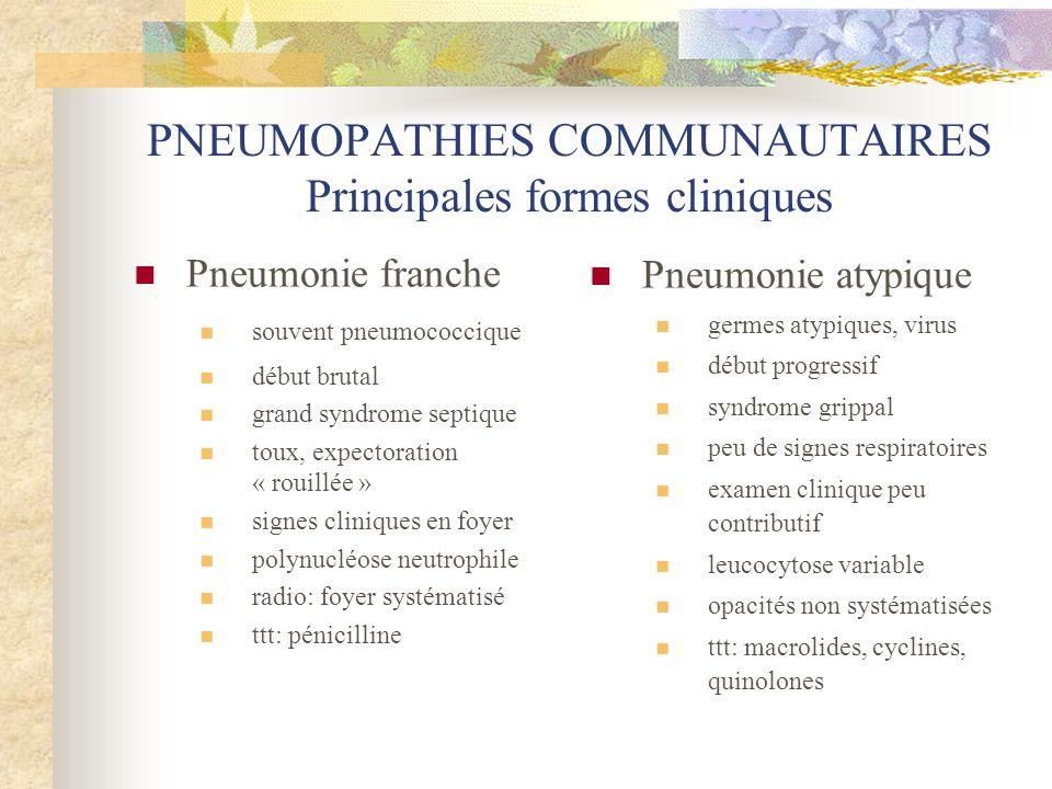 PNEUMOPATHIES COMMUNAUTAIRES Principales formes cliniques  Pneumonie franche  souvent pneumococcique  début brutal  grand syndrome septique  toux