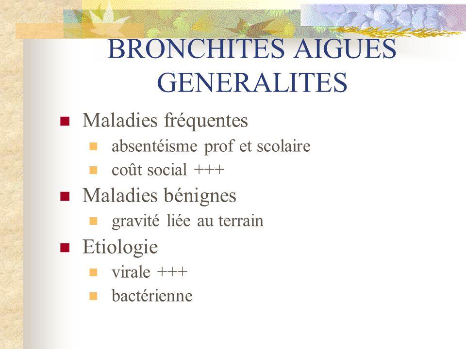BRONCHITES AIGUES GENERALITES  Maladies fréquentes  absentéisme prof et scolaire  coût social +++  Maladies bénignes  gravité liée au terrain  E