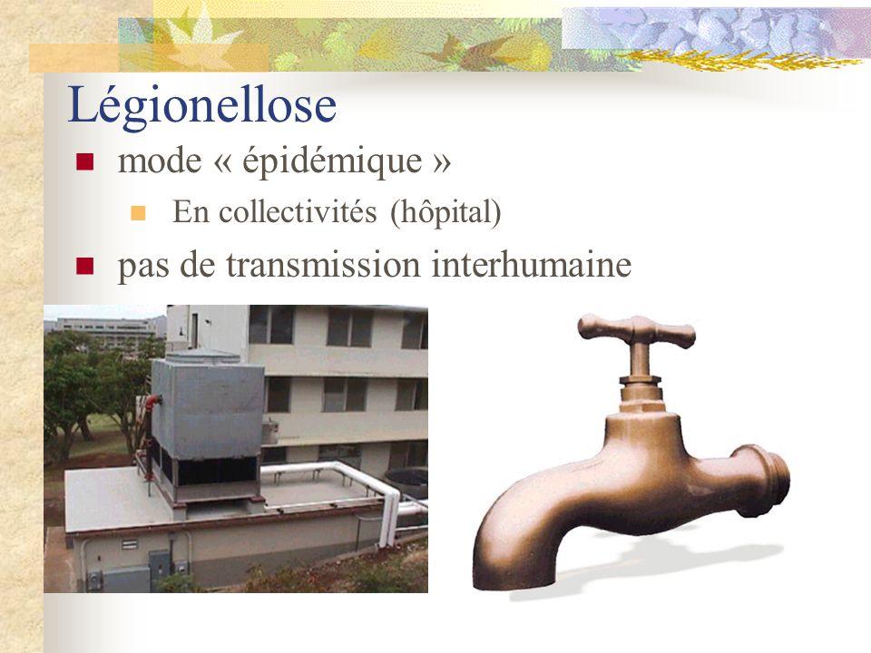 Légionellose  mode « épidémique »  En collectivités (hôpital)  pas de transmission interhumaine