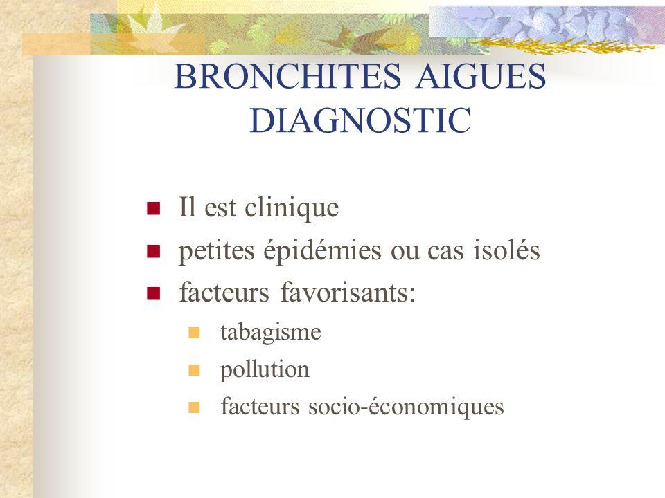 BRONCHITES AIGUES DIAGNOSTIC  Evolution en trois phases  Phase ORL (1-2 jours)  Phase sèche (3-4 jours)  Phase humide (4-5 jours)  Plus schématiquement  Toux, expectoration (claire, purulente, hémoptoïque), fébricule  Etat général conservé  Auscultation pulmonaire normale