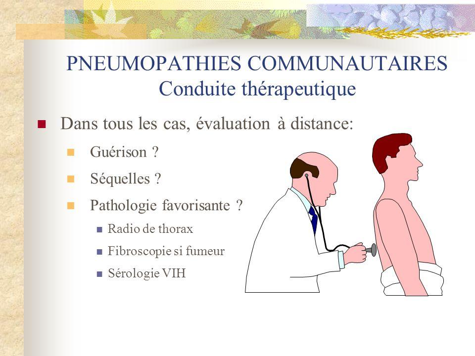 PNEUMOPATHIES COMMUNAUTAIRES Conduite thérapeutique  Dans tous les cas, évaluation à distance:  Guérison ?  Séquelles ?  Pathologie favorisante ?