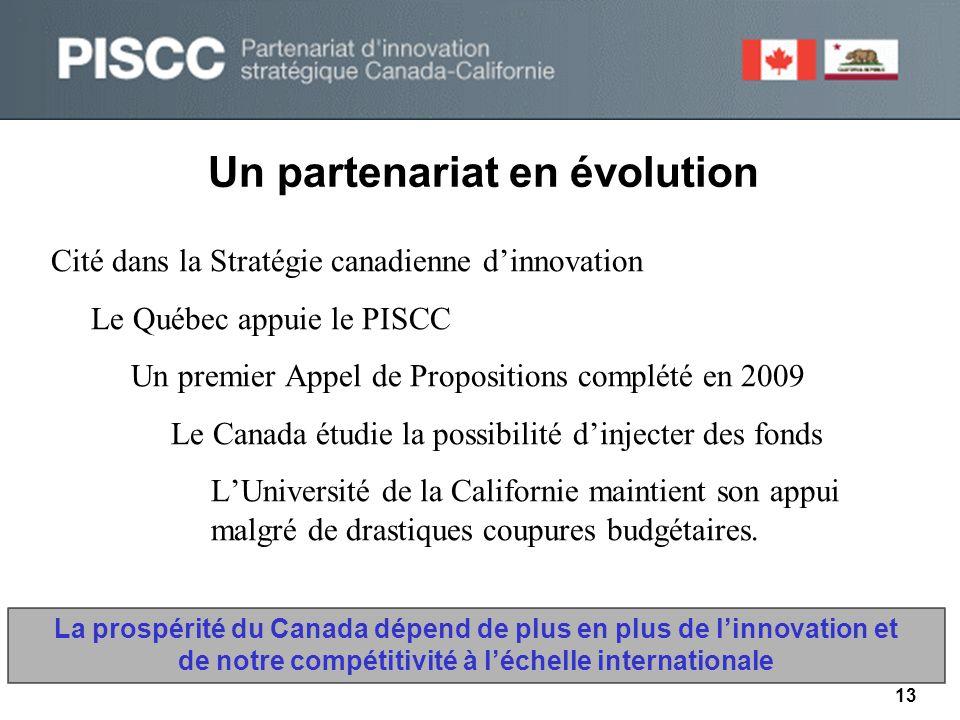 Un partenariat en évolution 13 Cité dans la Stratégie canadienne d'innovation Le Québec appuie le PISCC Un premier Appel de Propositions complété en 2009 Le Canada étudie la possibilité d'injecter des fonds L'Université de la Californie maintient son appui malgré de drastiques coupures budgétaires.
