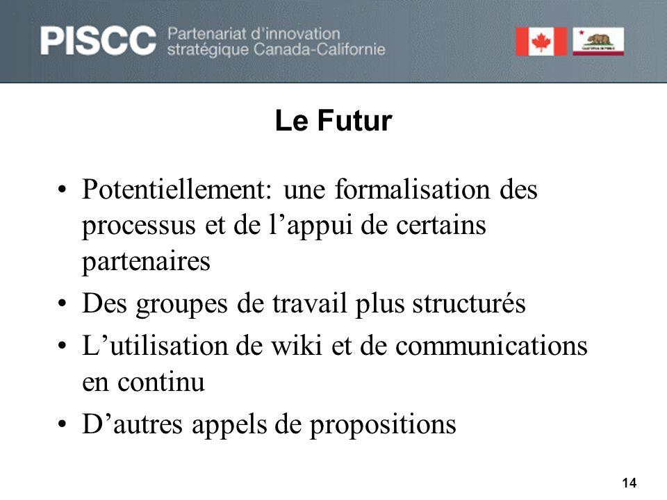 Le Futur •Potentiellement: une formalisation des processus et de l'appui de certains partenaires •Des groupes de travail plus structurés •L'utilisation de wiki et de communications en continu •D'autres appels de propositions 14