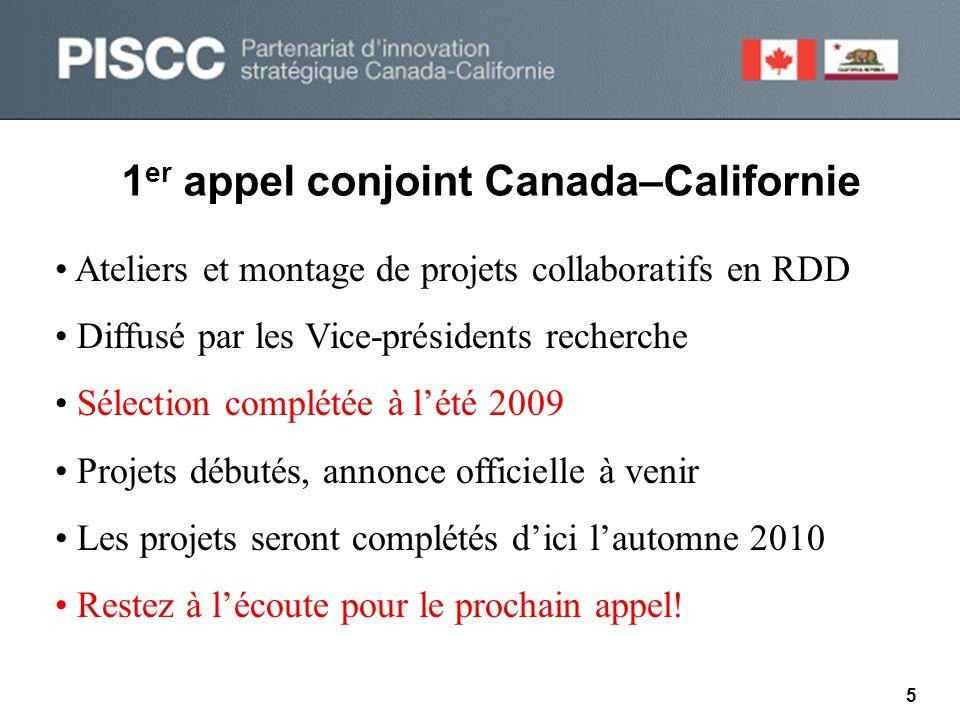 1 er appel conjoint Canada–Californie • Ateliers et montage de projets collaboratifs en RDD • Diffusé par les Vice-présidents recherche • Sélection complétée à l'été 2009 • Projets débutés, annonce officielle à venir • Les projets seront complétés d'ici l'automne 2010 • Restez à l'écoute pour le prochain appel.