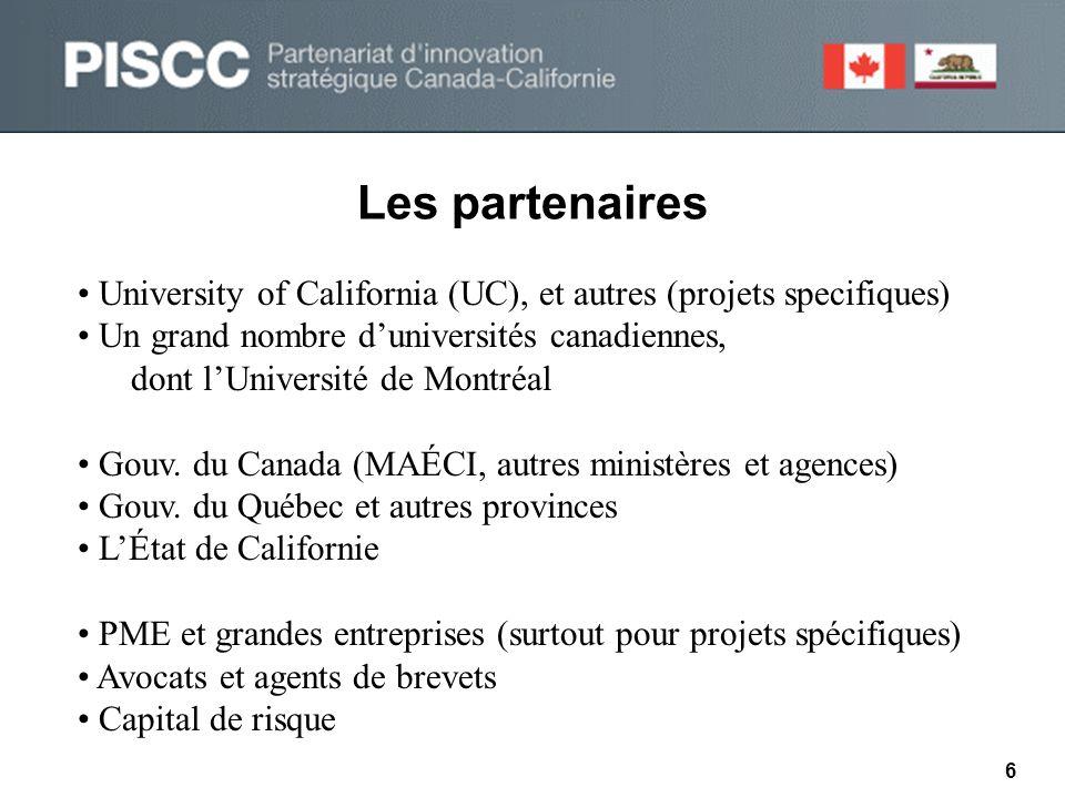 Le comité directeur 7 • Six californiens, six canadiens • Représentants des universités, gouvernements et secteur privé • Oriente le développement du partenariat Le PISCC demeure un mécanisme informel reconnu par plusieurs partenaires liés à la recherche et au développement au Canada et en Californie