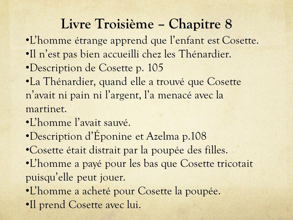Livre Troisième – Chapitre 8 • L'homme étrange apprend que l'enfant est Cosette.