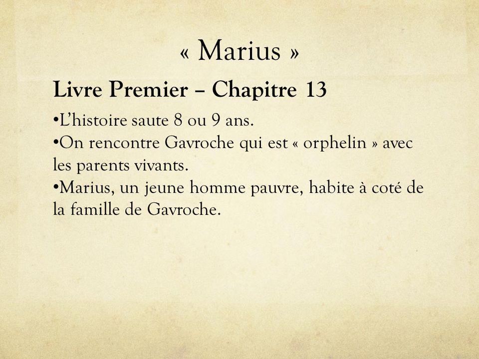 « Marius » Livre Premier – Chapitre 13 • L'histoire saute 8 ou 9 ans.