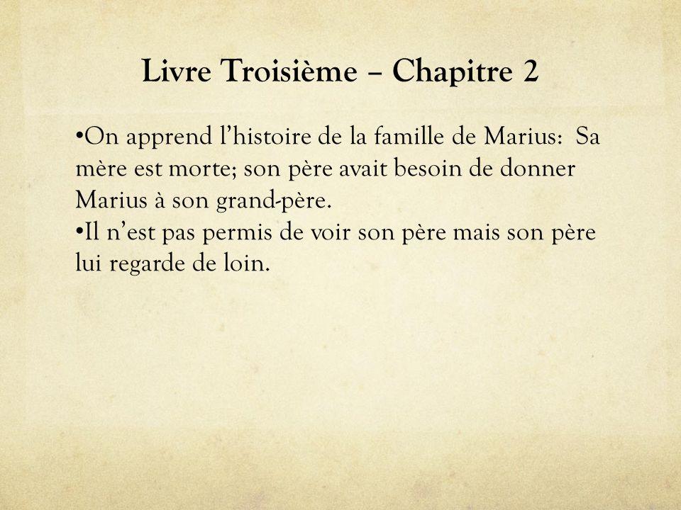 Livre Troisième – Chapitre 2 • On apprend l'histoire de la famille de Marius: Sa mère est morte; son père avait besoin de donner Marius à son grand-père.