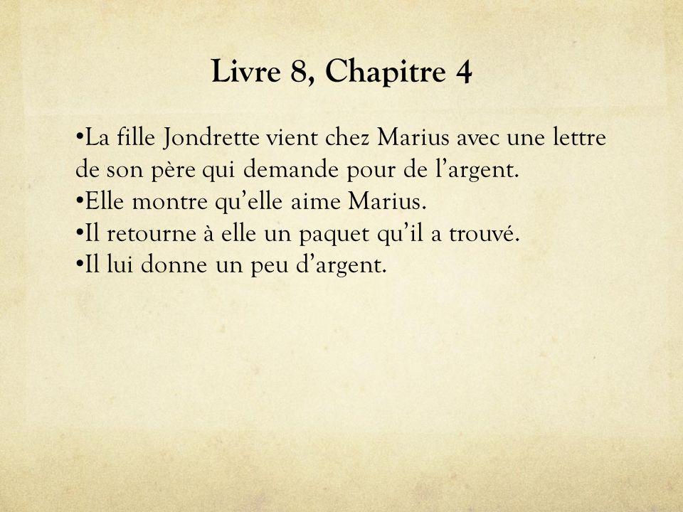 Livre 8, Chapitre 4 • La fille Jondrette vient chez Marius avec une lettre de son père qui demande pour de l'argent.