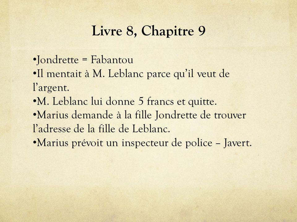 Livre 8, Chapitre 9 • Jondrette = Fabantou • Il mentait à M.